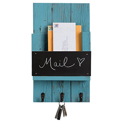 Holder Door Wall Flush Mount (Mail Holder with Key Hooks and Chalkboard for Entry Way | Wall Mount | Handmade Rustic Reclaimed Wood | 18 x 10.5 Inch - Turquoise)