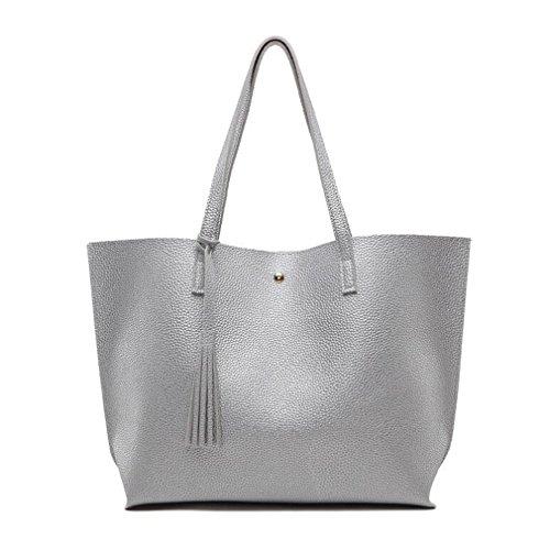 Sumerk Tassel Leather Tote Bag for Women Casual Tote Bags Shoulder Bag  Satchel Ladies Purses and c7c2279ce9b34