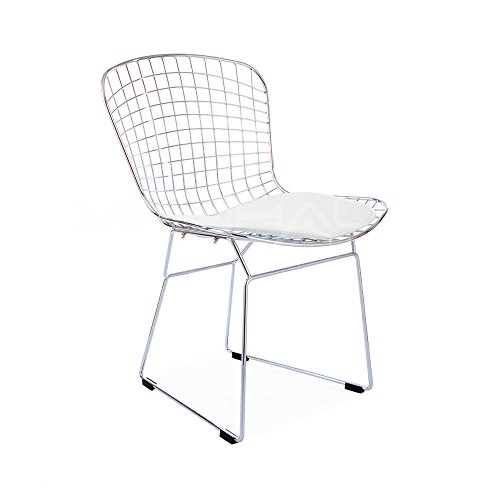 Harry Bertoia Side Chair (ModHaus Mid Century Modern Bertoia Style Chrome Side Dining Chair with White Faux Leather Seat Pad CONSTRUCTION)