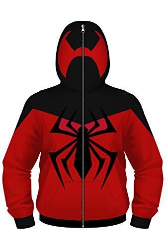 newhui Kids Teens Scarlet Spider Cosplay Jacket Hoodie Costume Halloween Zip Up Pullover Sweatshirt -