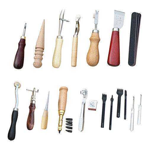 ELEOPTION DIY Sewing kit Accessories Supplies, Hand Leather Craft Tools Sewing Machine Needles Compass Accessories for Leathercraft Projects (18pcs)