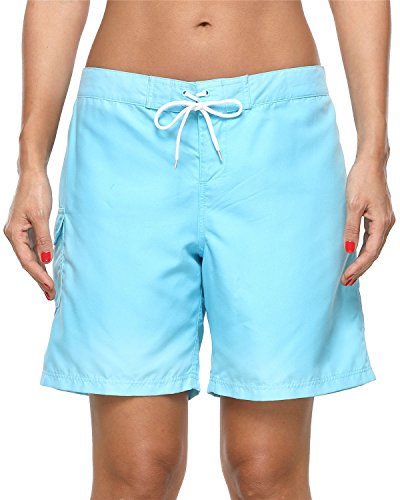 ALove Women's Loose Fit Swim Shorts Quick Drying Boardshorts Swimsuits Bottom Blue Medium by ALove (Image #3)