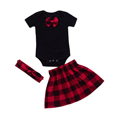 LNGRY Newborn Baby Girl Bowknot Romper Tops+Red Plaid Skirt Headband Outfits Set (Black, 12-18 (Red Girls Top)
