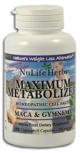 Nulife Herbes Maximum MetabolizerMeca & Gymnema-Blocs De Sucre, 150 Gélules Végétales, 510 Mg Chaque