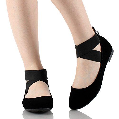 Bella Marie Stacy-29 Donna Punta Tonda In Nabuk / Passamontagna Con Cinturino Alla Caviglia Con Chiusura A Zip, Scarpe Da Ballo Piatte Nere