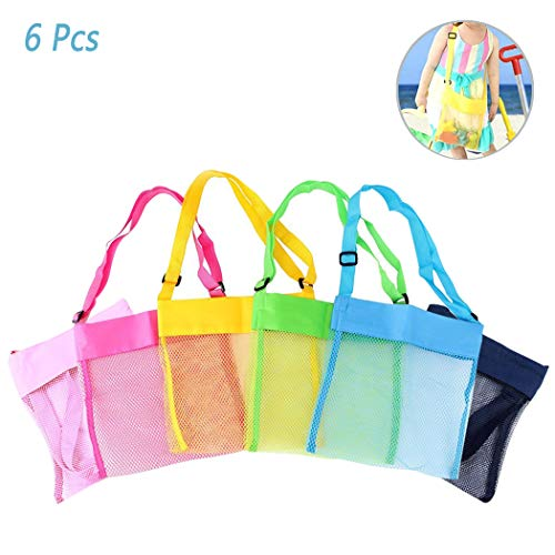 Hatisan 6Pcs Children's Colorful Mesh Beach Bags, Portable Foldable Sea Shell Bag/Toy Storage Bag for Kids Find Treasure [Blue, Pink, Green, Yellow and Sky Blue Rose] -