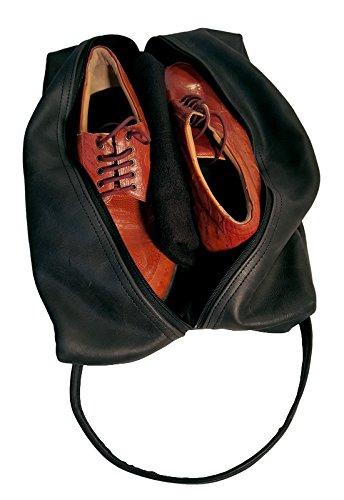 TPK Full Grain Leather Premium Shoe Bag (Ebony Black) by TPK (Image #3)