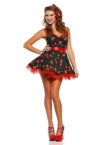 Pin Up Girl For Halloween (Sexy Women's 50's Cherry Pop Pinup Girl Costume S)
