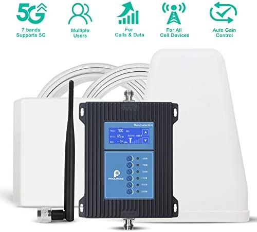 5G Cell Phone Signal Booster for Home and Office - Boosts 7-Band All Carriers 3G 4G 5G Voice & Data Signal by Multi-Band 2/4/5/12/13/17/30/66/71 Cellular Repeater Up to 5000Sq Ft