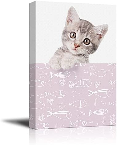 Cute Cat with Fish Patterns