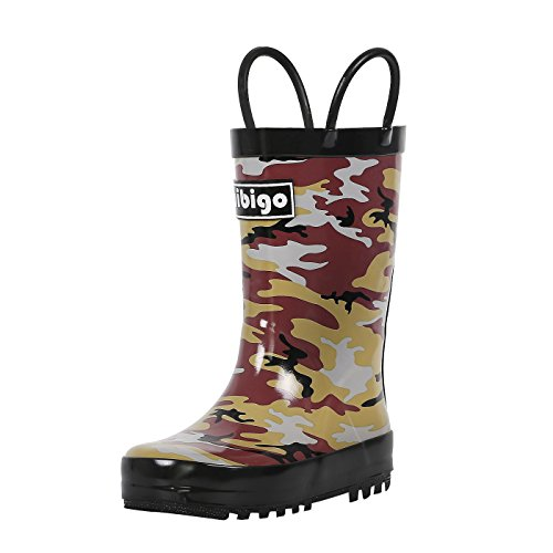 Boots Rubber Brown Rain (hibigo Children's Natural Rubber Rain Boots with Handles Easy for Little Kids & Toddler Boys Girls, Brown Camo)