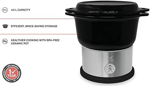 41NEZHCmWOL. AC Kalorik All Natural BPA Free Ceramic Food Steamer, DG 44815 BK, Prepare Healthy Meals with Smart Digital One-touch Control, 4.5 Liter, Black    The black Kalorik digital ceramic steamer with steaming rack provides a healthy and easy way to to steam, and prepare a variety of foods! With a 4.5L capacity, this digital ceramic steamer comes in handy for cooking healthy dinners at any time. The unit provides a BPA-free ceramic pot and a steaming rack with removable handle, to steam food on 2 layers simultaneously. Other highlights include an adjustable 45-minute timer with easy one-touch-control, a lid, serving platter and drip-tray in one, and heat-resistant potholders. This unit is easy to put away thanks to its space-saving storage: the base and the rack fit inside the basket!