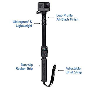 "SANDMARC Pole - Black Edition: 17-40"" Waterproof Extension Pole (Selfie Stick) for GoPro Hero 6, Hero 5, 4, Session, 3+, 3, 2, & HD Cameras - with Remote Clip (Mount)"