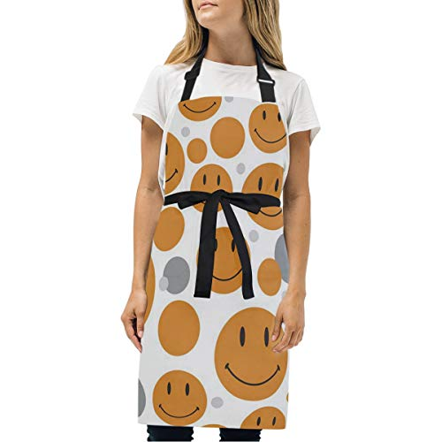 HJudge Womens Aprons Pattern Smiley Face Kitchen Bib Aprons with Pockets Adjustable Buckle on Neck