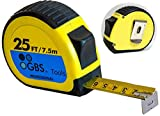 GBS Premium Tape Measure - Retractable 25 foot Measuring Tape for Professionals and DIY users, Heavy Duty, Thumb Lock, Belt Clip, Sturdy Blade in Metric, Inches, Fractions. Easy to read and find.