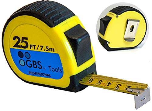 GBS Premium Tape Measure - Retractable 25 foot Measuring Tape for Professionals and DIY users, Heavy Duty, Thumb Lock, Belt Clip, Sturdy Blade in Metric, Inches, Fractions. Easy to read and find. by GBS
