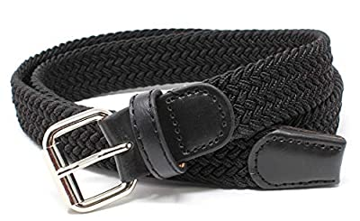 Kids Braided Elastic Woven Stretch Belt Chrome Buckle and Leather Tip - Perfect for Children School Uniform
