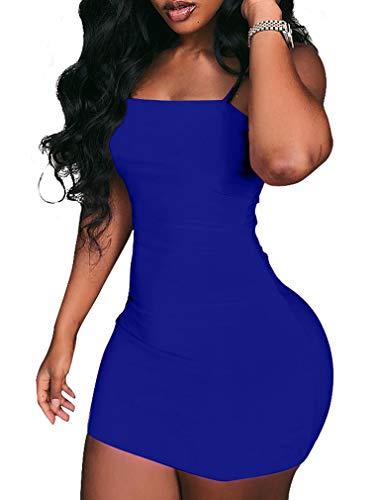 (BEAGIMEG Women's Sexy Spaghetti Strap Sleeveless Bodycon Mini Club Dress Royal Blue)