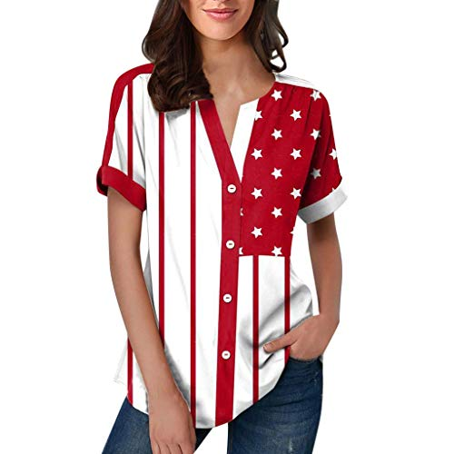 Women's Summer 4th of July American Flag Independence Day Short Sleeve Hem Split Shirt Loose Sexy Blouses Red