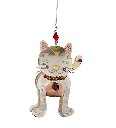 Tri Bead Ornaments - Wind & Weather Doodle Cat Tri-Metal and Beads Ornament - 5 W x 4.5 H x .75 D