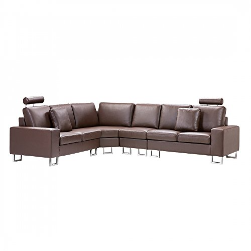 Beliani Stockholm Contemporary Genuine Leather Sectional Couch Sofa, Brown