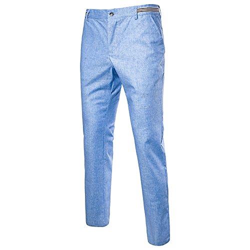 Slim Linen Dress Pants Lightweight Summer Pants (Blue, US 34(Label 36)) ()