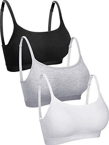 3 Pieces Mini Camisole Bra Padded Bra Tank Top Bra Women Sports Bra with Straps