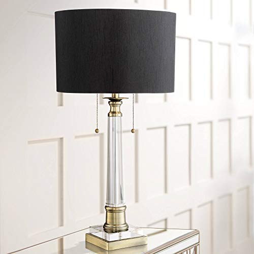 (Stephan Traditional Table Lamp Crystal Column Antique Brass Black Drum Shade for Living Room Family Bedroom Bedside - Vienna Full Spectrum)