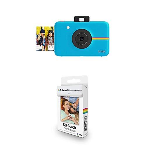 Polaroid Snap Instant Digital Camera (Blue) with Polaroid 2x3ʺ Premium ZINK Zero Photo Paper 50-Pack from Polaroid