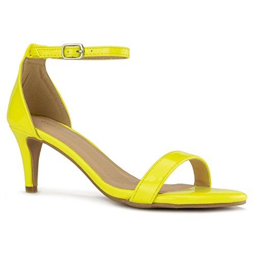 Mid Yellow Footwear - RF ROOM OF FASHION Fashion D'Orsay Ankle Strap Kitten Heel Dress Sandal - Essential Mid Heel Open Toe Vegan Pumps - Yellow (7)