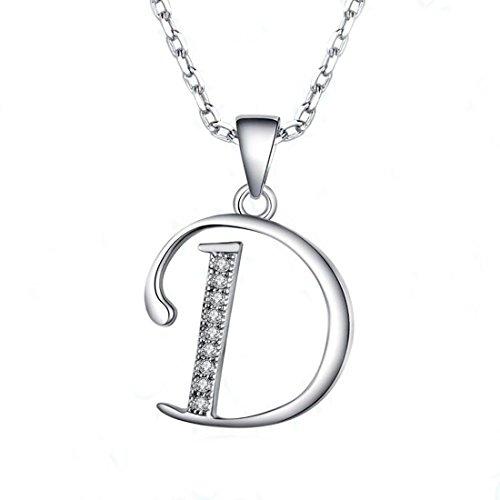 Pendant Necklace Letter Alphabet (JUFU Fashion Jewelry 925 sterling silver 26 Alphabet Letter Pendant Necklace 18+2