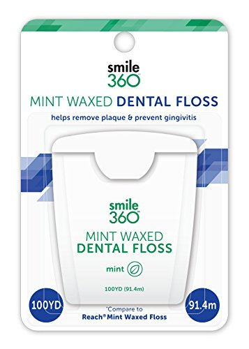 Smile 360 Mint Waxed Dental Floss, 100 Yard, 2 Count (Pack of 3)
