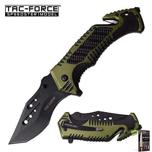 Spring-Assist Folding Knife Glass Break Seatbelt Cutter Tactical Carbon Sharp Blade EDC Green Knife + Free eBook by SURVIVAL STEEL