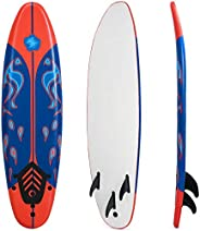 GYMAX Surfboard, 6FT Stand Up Paddle Board with Removable Fins & Safety Leash, Lightweight Non-Slip Paddle