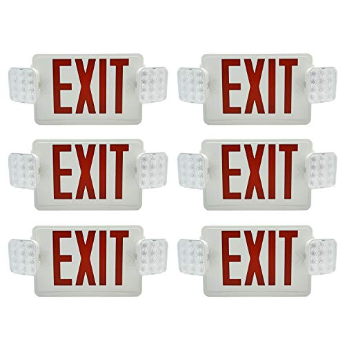 (Ainfox 6 Pack LED Exit Sign Emergency Wall Light, UL Listed- LED Combo Emergency EXIT Sign with 2 Head Lights and Back -up Letter Cover (red/6pack))