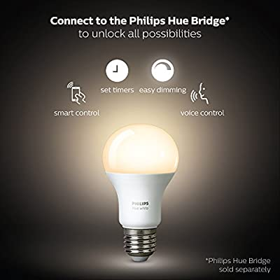 Philips Hue White 2-Pack A19 60W Equivalent Dimmable LED Smart Light Bulbs, Works with Alexa, HomeKit & Google Assistant, (CA Residents, Hub Required)