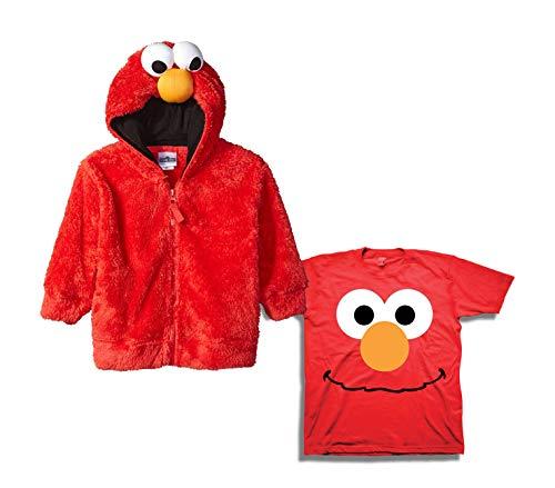- Sesame Street Hoodie Tee Set - 2 Pack of Sesame Street Hoodie and Tee - Elmo, Cookie Monster & Friends (Red/Red, 5T)
