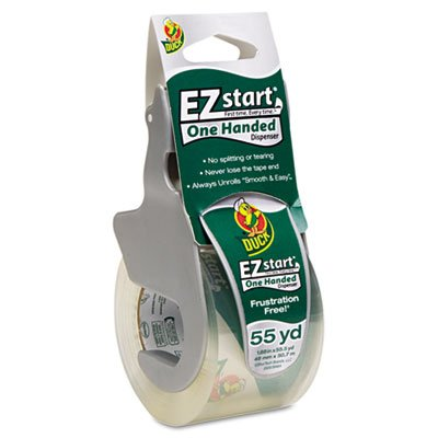 Duck Products - Duck - E-Z Start Premium Packaging Tape w/Dispenser, 1.88amp;quot; x 55.5 yards Roll - Sold As 1 Each - Frustration-free adhesive eliminates splitting and tearing when restarting the roll. - Smooth and quiet application. - Clear and glossy