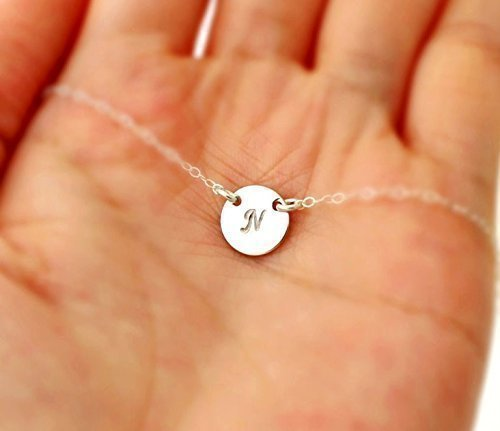 Amazon personalized small round disc necklace petite initial personalized small round disc necklace petite initial circle pendant necklace simple minimal flower girl aloadofball Image collections