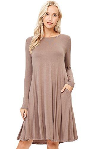 8fb3b7a9772 Annabelle Women s Scoop Neck Long Sleeve A-Line Midi Pocket Swing Dresses