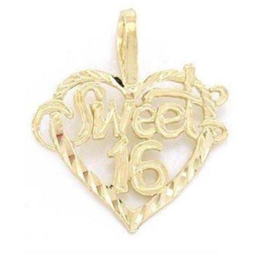 14K Gold Sweet 16 Heart Charm Diamond-Cut Jewelry 16mm - Gold Sweet 16 Heart Charm