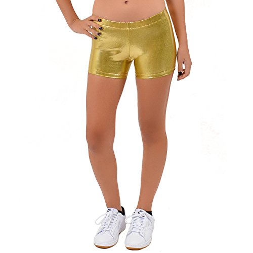 37b7a6802b6d0 Galleon - Stretch Is Comfort Girl's Dance Cheer Mystique Booty Shorts Gold  Large
