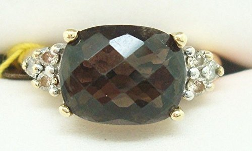 14K Gold Checkerboard 3.83ct Genuine Natural Smoky Quartz Ring w/Diamonds (Diamond Smoky Ring)