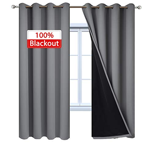 - Yakamok 100% Blackout Curtains 84 Inches Long, Thermal Insulated Soundproof Gray Curtain Panels, Full Light Blocking Drapes with Black Liner for Bedroom (52