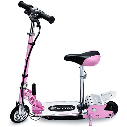 (Maxtra E120 Electric Scooter with Seat 177lbs Max Weight Capacity Motorized Bike Removable Seat (Pink))