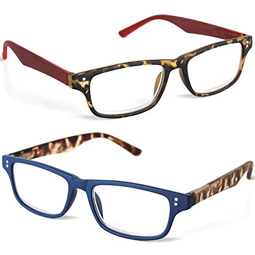 Amber Speckled Glass ((Set) Designer Reading Glasses Blue & Red w/ Amber-Speckled Camo Accent +1.5)