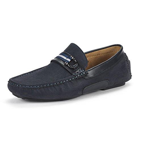 BRUNO MARC NEW YORK Men's Santoni-05 Navy Penny Loafers Moccasins Shoes Size 10.5 M US