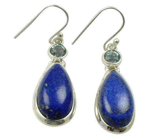 Lovegem Genuine Lapis Lazuli & Blue Topaz Earrings 925 Sterling Silver, 43.6 mm, ()