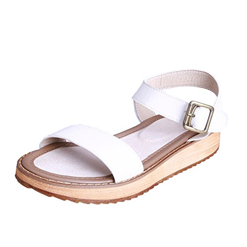 Smilun Lady's Sandals Toe Strap Metal Buckle Flip Flop Thongs Sandal Smooth Leather White