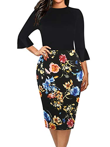 oxiuly Women's Casual Scoop Neck Floral Flare Sleeve Work Sheath Bodycon Party Dress OX292 (M, Bk-Floral)